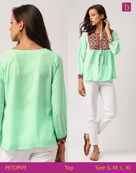 Ladies Blouses & Tops Loose Printed Top with Round Neck and Three Quarter Sleeves Casual Woman Tops