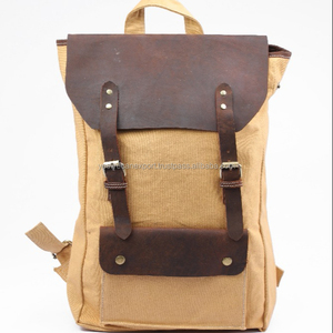 Stylish Canvas Leather backpack travel bag laptop Backpack