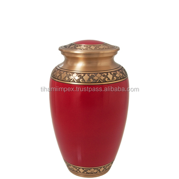 Red Colour Solid brass Cremation Urn