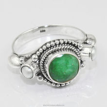 Sale 925 Sterling Silver Emerald Pearl Handmade Ring Jewelry