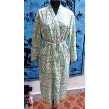 Indian Block Printed Long Kimono Dress Ladies Tunic
