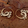 Brass Finish Spiral Engraved Gypsy Tribal Antique Brass Earrings