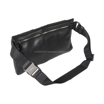 good quality travel black leather waist bag