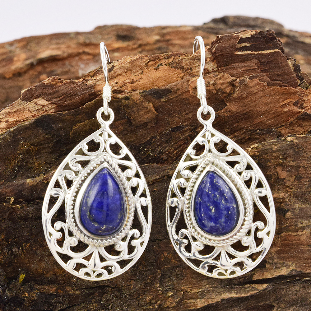 Latest design for women Lapis Earring offers 925 sterling silver jewelry supplier indian silver jewelry