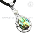 Flashy pearl, abalone shell gemstone pendant 925 sterling silver jewelry wholesaler jaipur