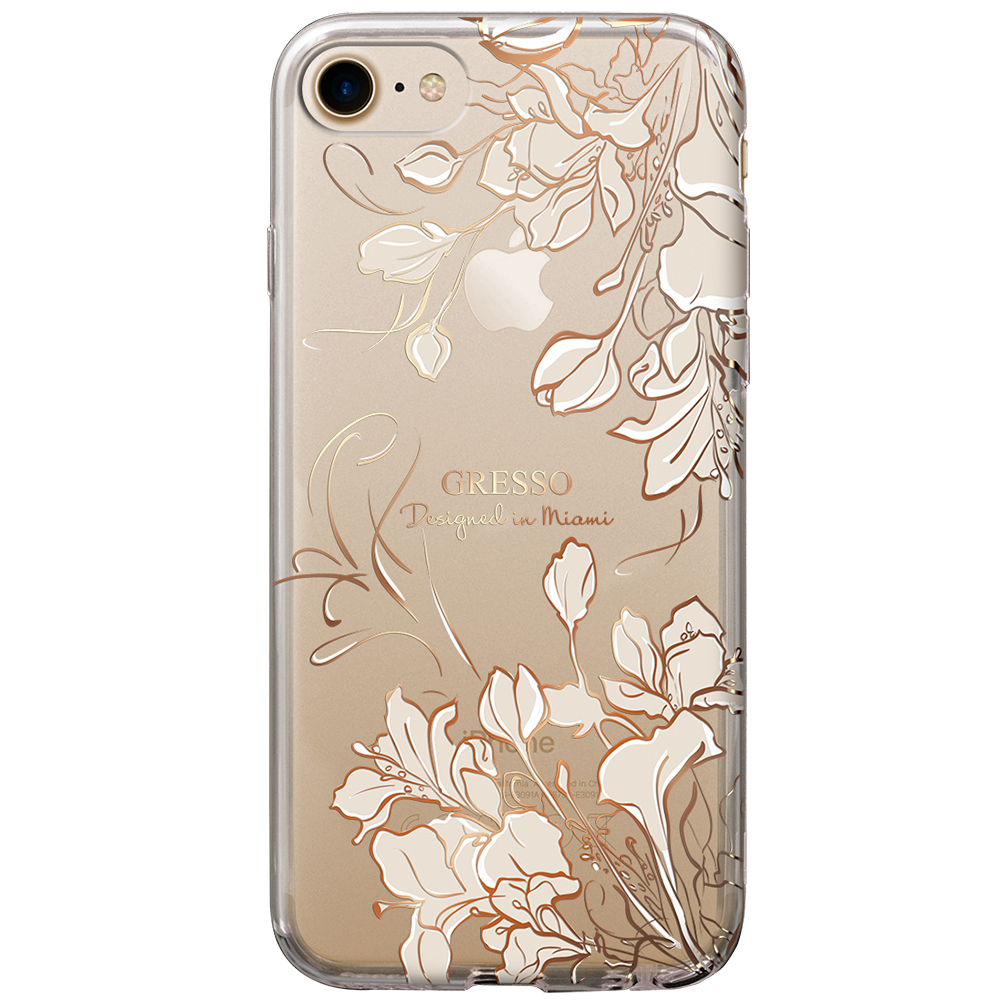 2017 New Transparent TPU Wallet Case for iPhone 8 7 6s 6 Plus with Gold Roses Flowers Printing Wholesale OEM