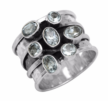 Natural Blue Topaz Handmade 925 Sterling Silver Ring