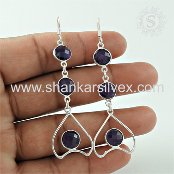 New creative design silver earring amethyst gemstone 925 sterling silver earrings jewelry manufacturer