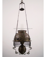 BR201 Antique Style Victorian Era Hanging Library Oil Lamp / Lantern Replica