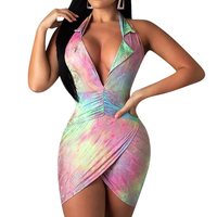 Cheap sexy snake skin print halter neck backless open breast tight short bodycon mini party dresses