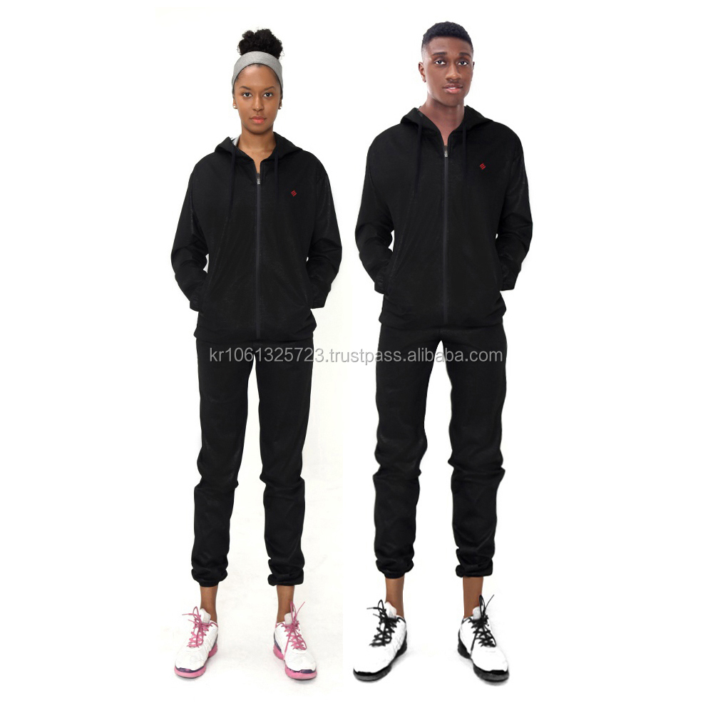Weight Loss Unisex Full zipper Sauna Suit Black Sports Wear Made in Korea
