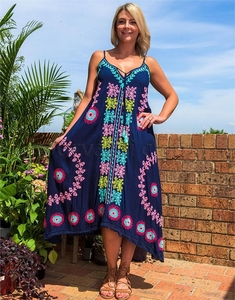 2019 Made with love Fashion Clothing american women Short dress Adjustable straps with aari embroidery mexican dress