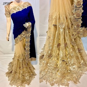 Indian Bollywood Party Looking Fashionable Designer Lace Worked Velvet Silk Saree In Surat