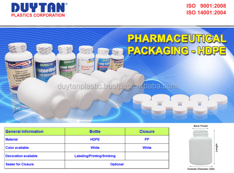Hot HDPE medicine bottle with cap from Duy Tan Plastic Vietnam