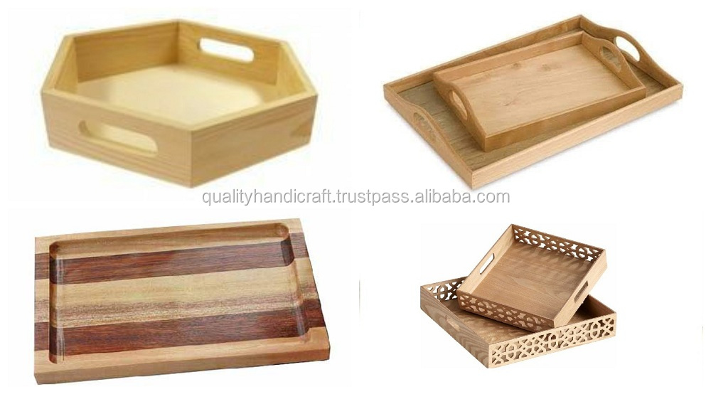 Wholesale Diy Epoxy Resin River & Pine Wood Serving Tray With Metal Handle Hotels & Restaurant Kitchenware Coffee Table Tray