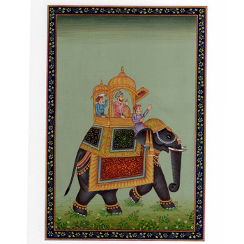Mogul Miniature Painting Mughal Emperor Riding On Elephant Fine Artwork