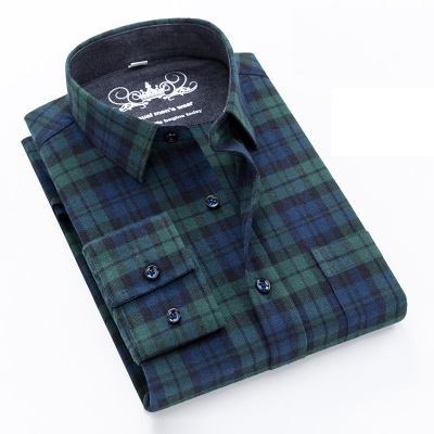 Spring autumn 100% <strong>cotton</strong> frosted Long Sleeve check shirt for men