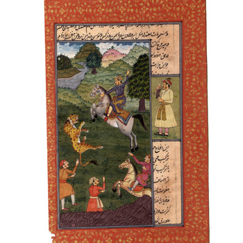 Mughal Miniature Painting Emperor Jahangir hunting The Lion With Royal Friends