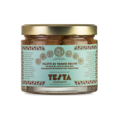 Canned Italian bluefin tuna fillets in organic sunflower oil glass jar 620g