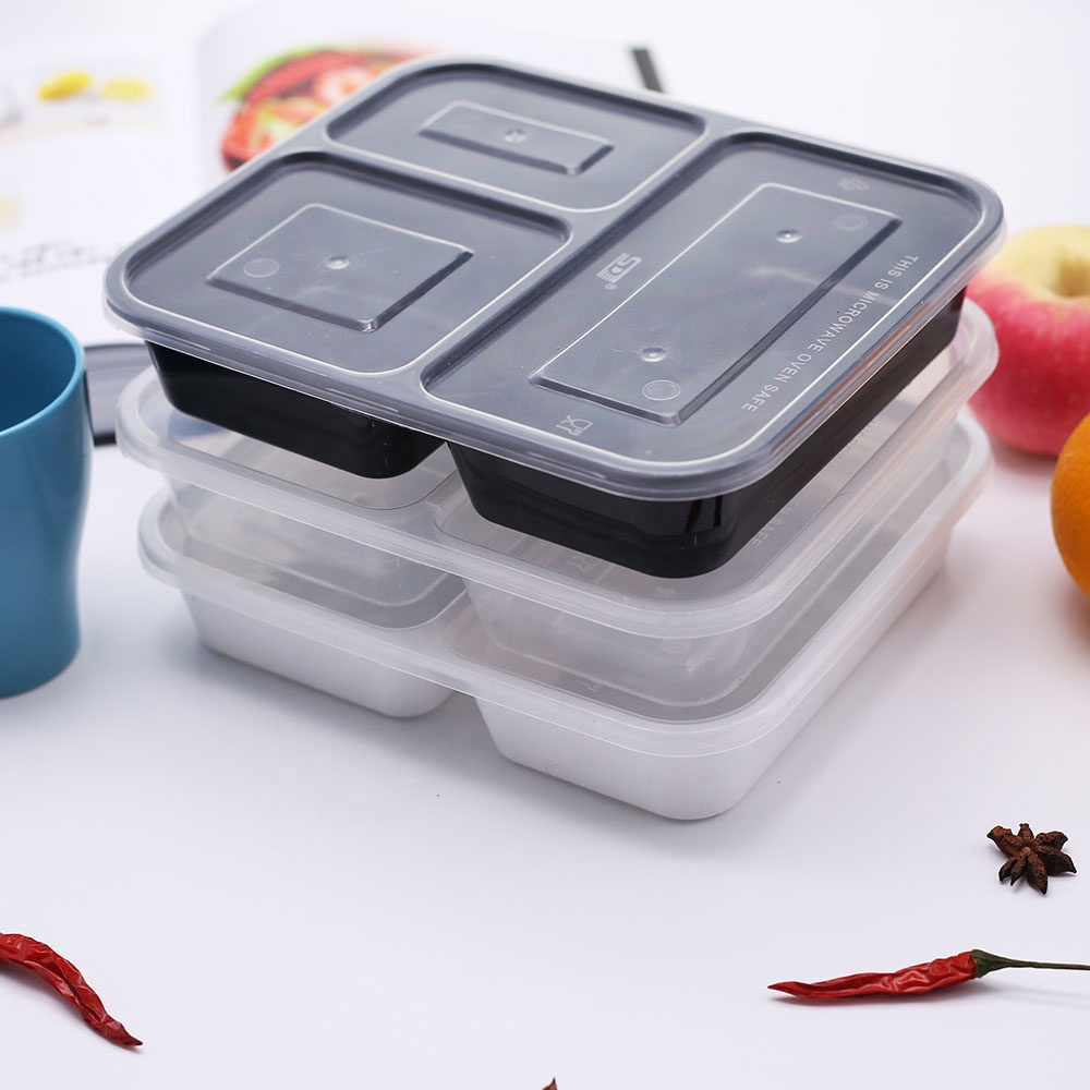 3 compartment restaurant food containers disposable <strong>plastic</strong> take away bento lunch box for fast food meal sushi