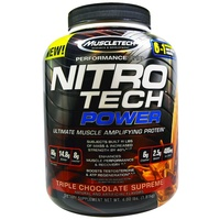Muscletech, Nitro Tech Power, Ultimate Muscle Amplifying Whey Protein Powder, Triple Chocolate, 4.00 lbs (1.81 kg)