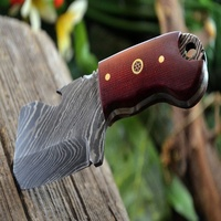 "CUTLERY HANDMADE DAMASCUS STEEL 4.2"" RED MICARTA MINI CLEAVER POCKET KNIFE"