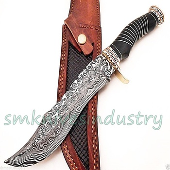 Handmade Damascus Steel Bowie Knife Beautiful BLACK BULL HORN Handle Knife Bowie Hunting Knife (smk1609)