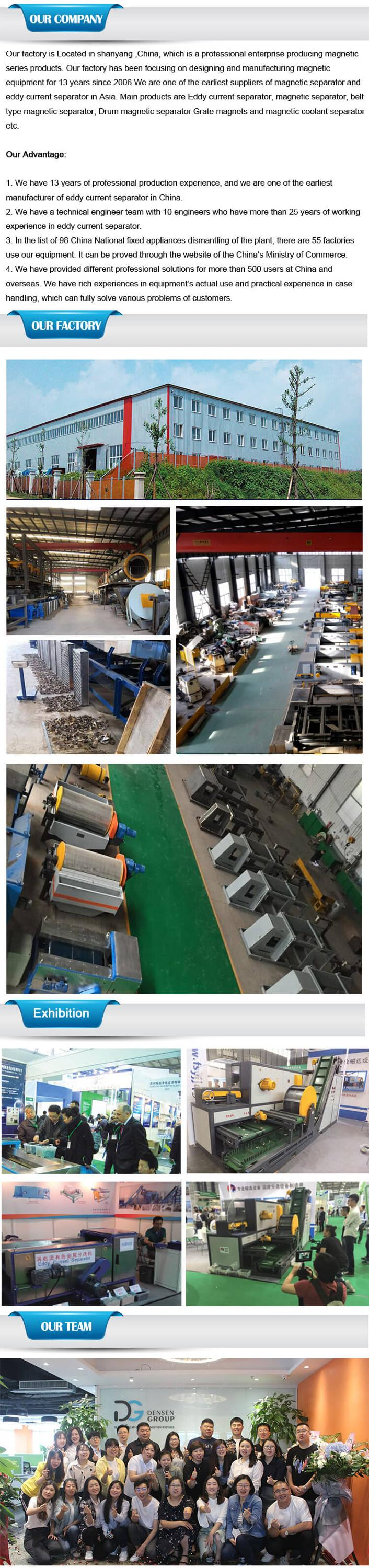 Recycling Al Cu from Urban Waste Scarp Steel E waste Glass shards paper cutting customized Eccentric Eddy Current Separator