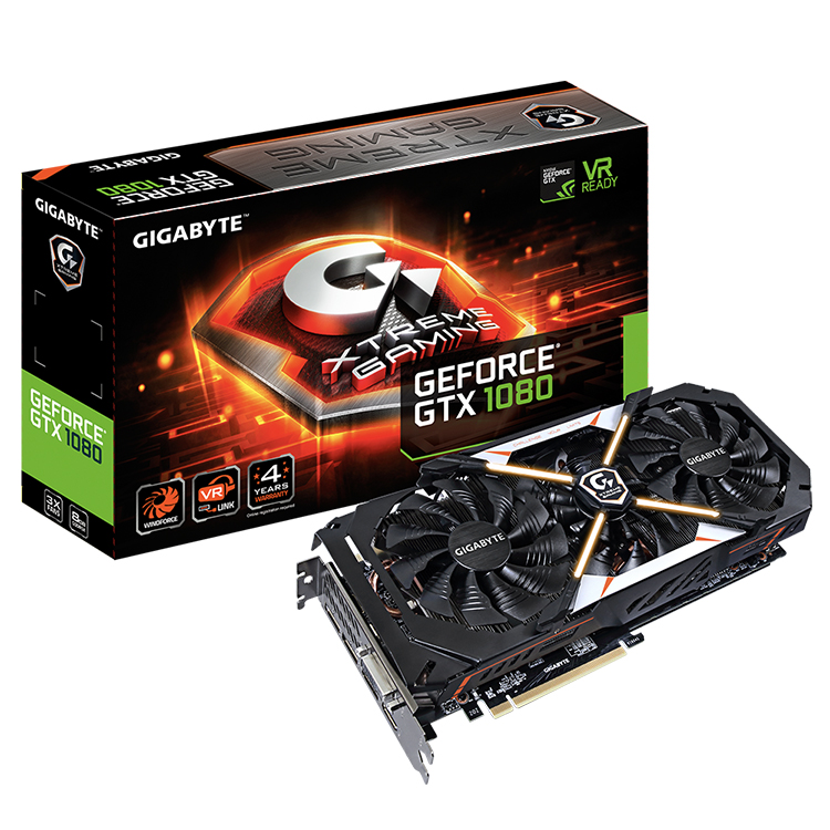 GIGABYTE NVIDIA GeForce GTX 1080 Xtreme Gaming 8G Used Graphics Card with 8GB GDDR5X 256-bit Memory