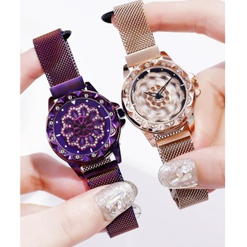 2020 Hot Sale Mesh Belt Rotate Dial Novel Magnet Buckle Fashion Casual Female Wrist Watch