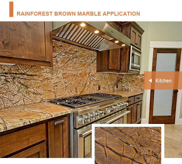 Wall cladding decoration book match rainforest brown marble slab