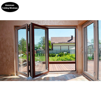 Tough Tempered Glass Aluminum Framed Folding Windows