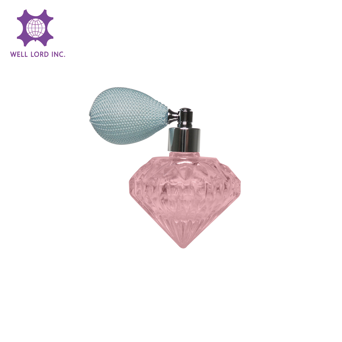 Lovely adorable pink diamond glass bottle for ladies' perfume and fragrance with bulb atomizer 35ml