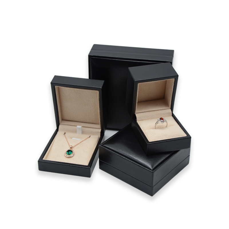 customize luxury black wedding gift ring necklace jewelry box packaging