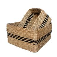 square seagrass storage basket with black decoration detail