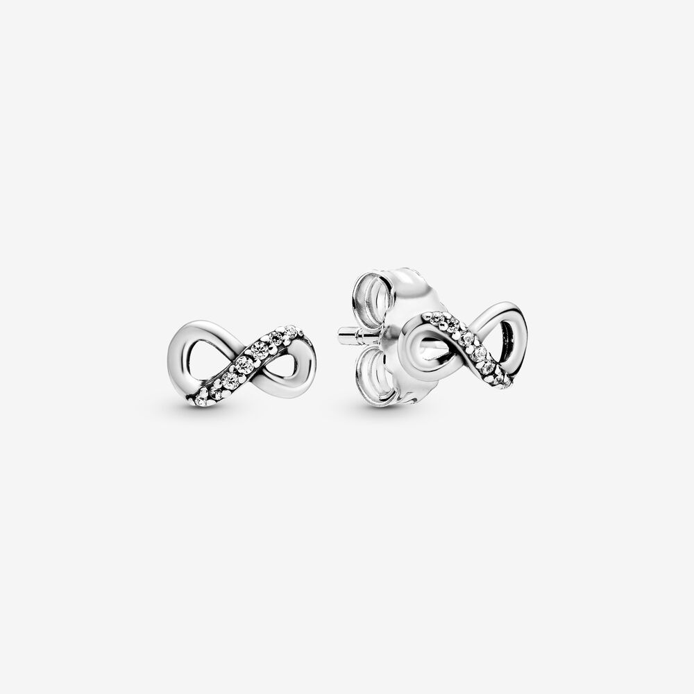 Silver Sparkling Infinity Love Hot Sale Heart Flower Knot Stud ...