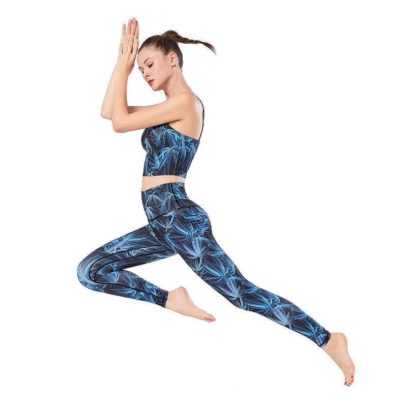 Wholesale Hot Selling New Women Print Yoga Vest Suits Butt Lift Leggings Sets