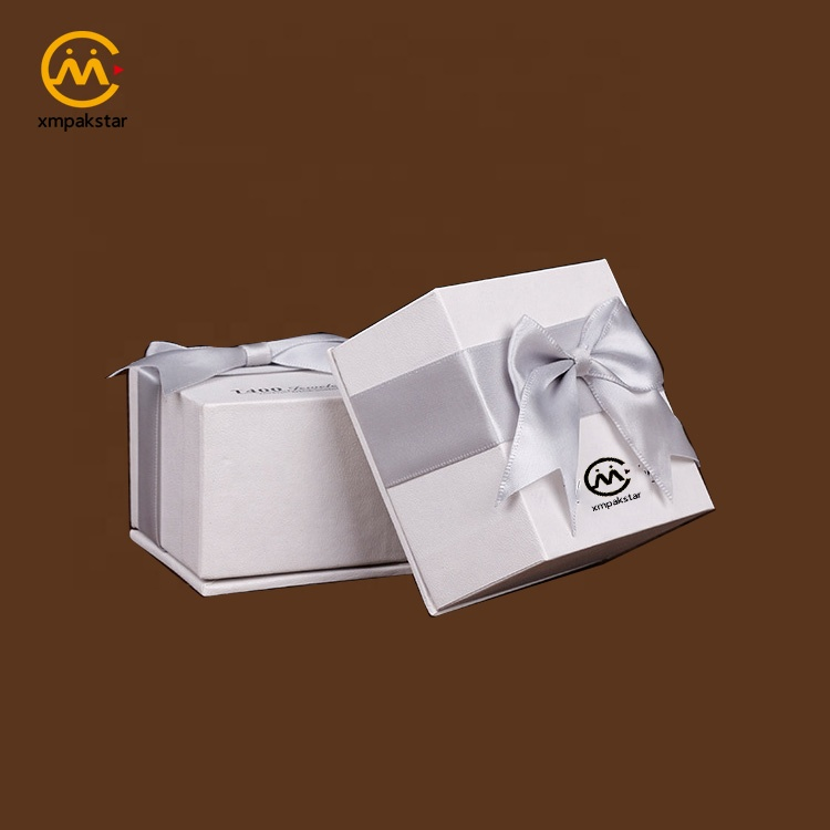 Custom logo printed white presentation jewelry gift packaging cardboard box with lid