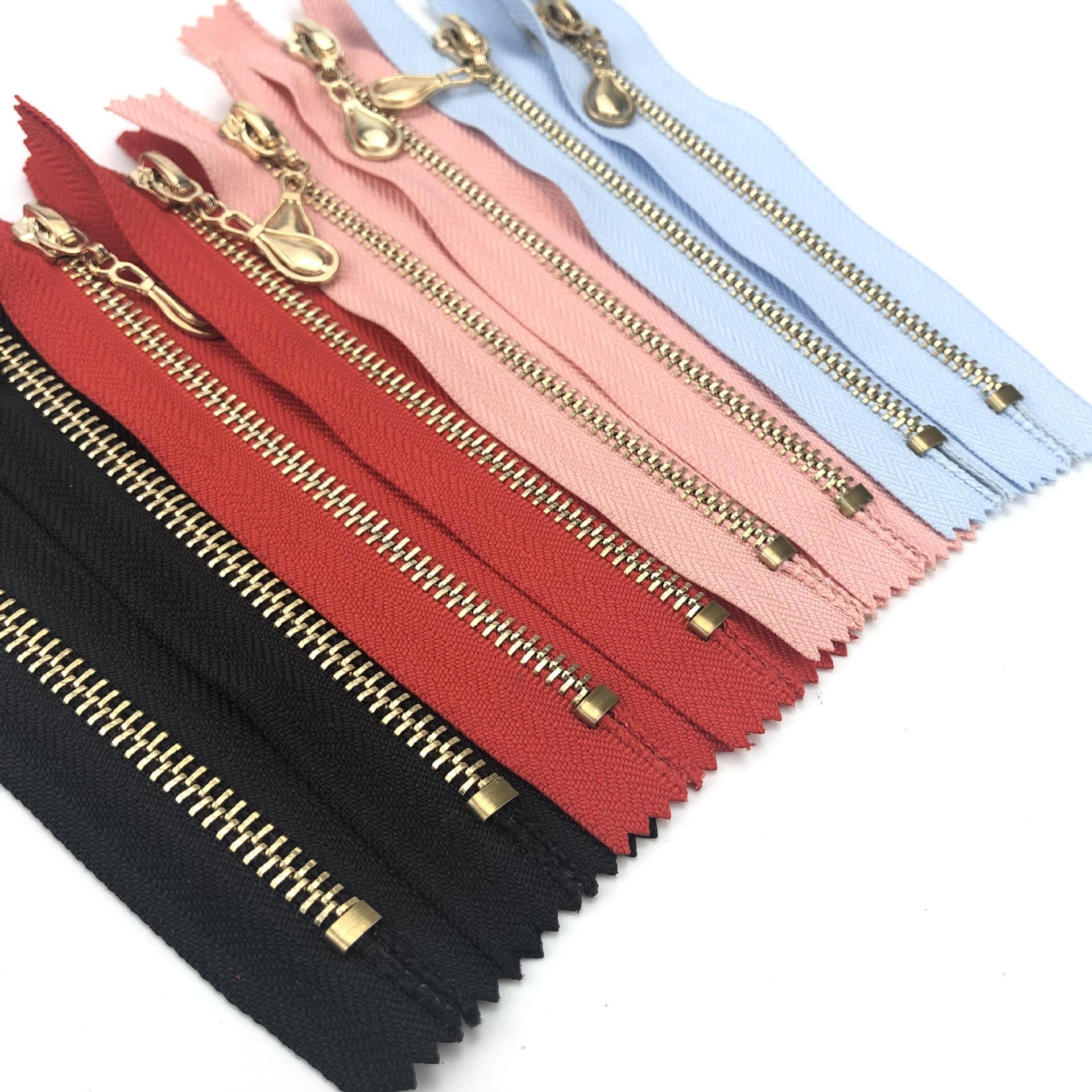 Lange kette messing band 5 männer der jeans gold benutzerdefinierte zipper für jacke