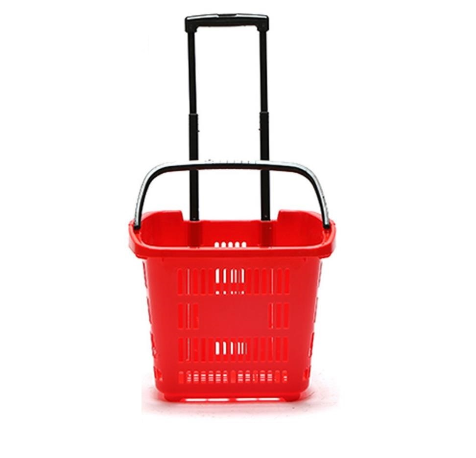 Plastic shopping handling basket PP Material baskets with handles wheels from china