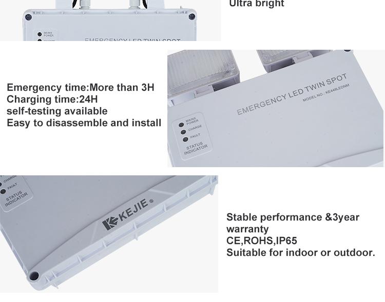 ISO genehmigt IP65 Auto-Prüfung wiederaufladbare wasserdichte led notfall lampe 2X3 watt LED twin spot notfall licht
