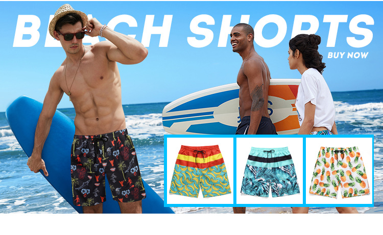 Hot Mens Surfing Beach Shorts Digital Printed Board Surfing Shorts Quick Dry Trunks Men Shorts