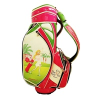 10 Inched Pink and Green White Golf Tour Bag with 6 Dividers and Printing Pattern