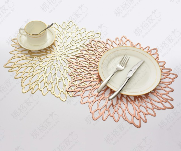 Hollowed-Out Floral Placemats, Heat Insulation Pad Washable PVC Table Mats, Non-Slip Place mats Table Decoration