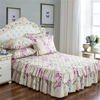 150*200cm Bedspread Queen Bed Skirt Thickened Sheet Single Bed Dust Ruffle Flower Pattern bed sheet