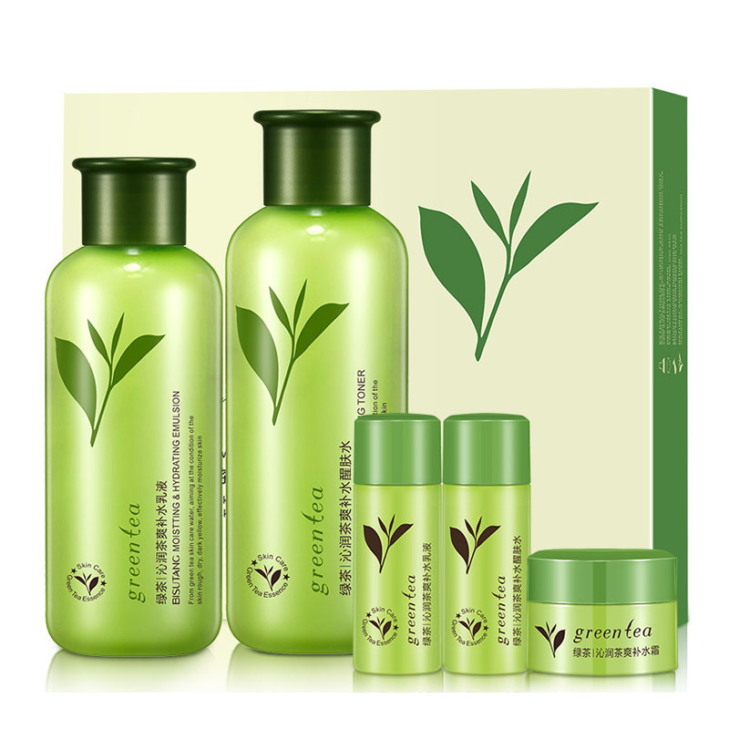 Customer brand herbal extract green tea skin care whitening face care set with 6 pcs