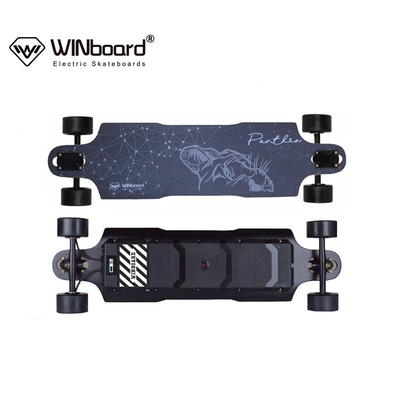 WINboard new panther bamboo fiberglass deck 96mm hub motor in wheels customized ESC 10S4P battery premium electric skateboard