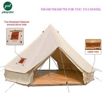 3M.4M.5M.6M.7M Beige Glamping 4-Season Camping Cotton Canvas Bell Tent Double Two Doors with Stove Jack Hole