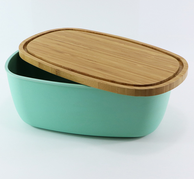 Bamboo Fiber Bread Bin with Bamboo Bread Board Lid