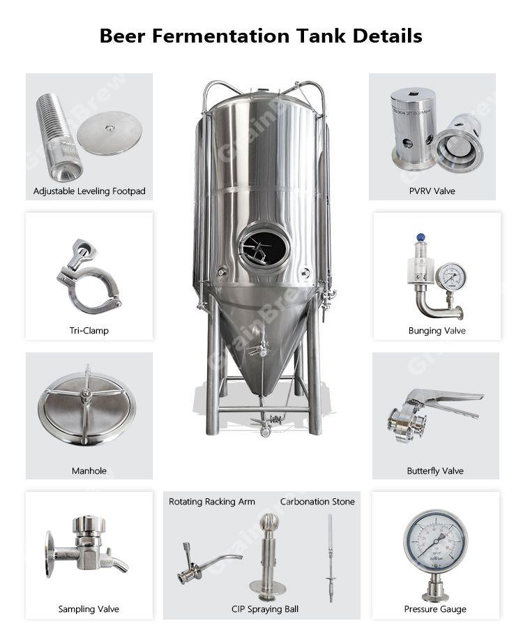 1000L Industrial de Aço Inoxidável Cerveja Tanque de Fermentação Do Vinho Com Camisa De Refrigeração